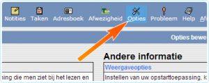 Drop boven in het startscherm op de knop 'opties'.
